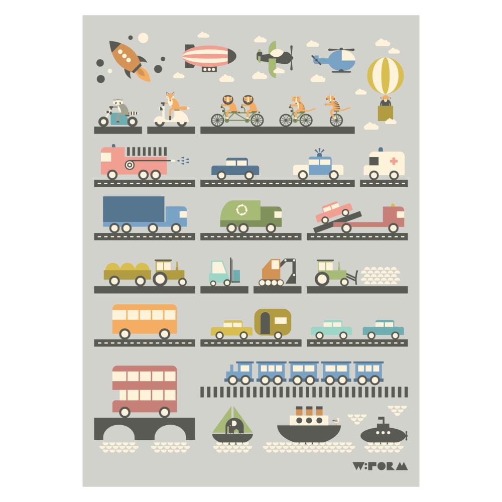 Fordonsposter för barnrummet